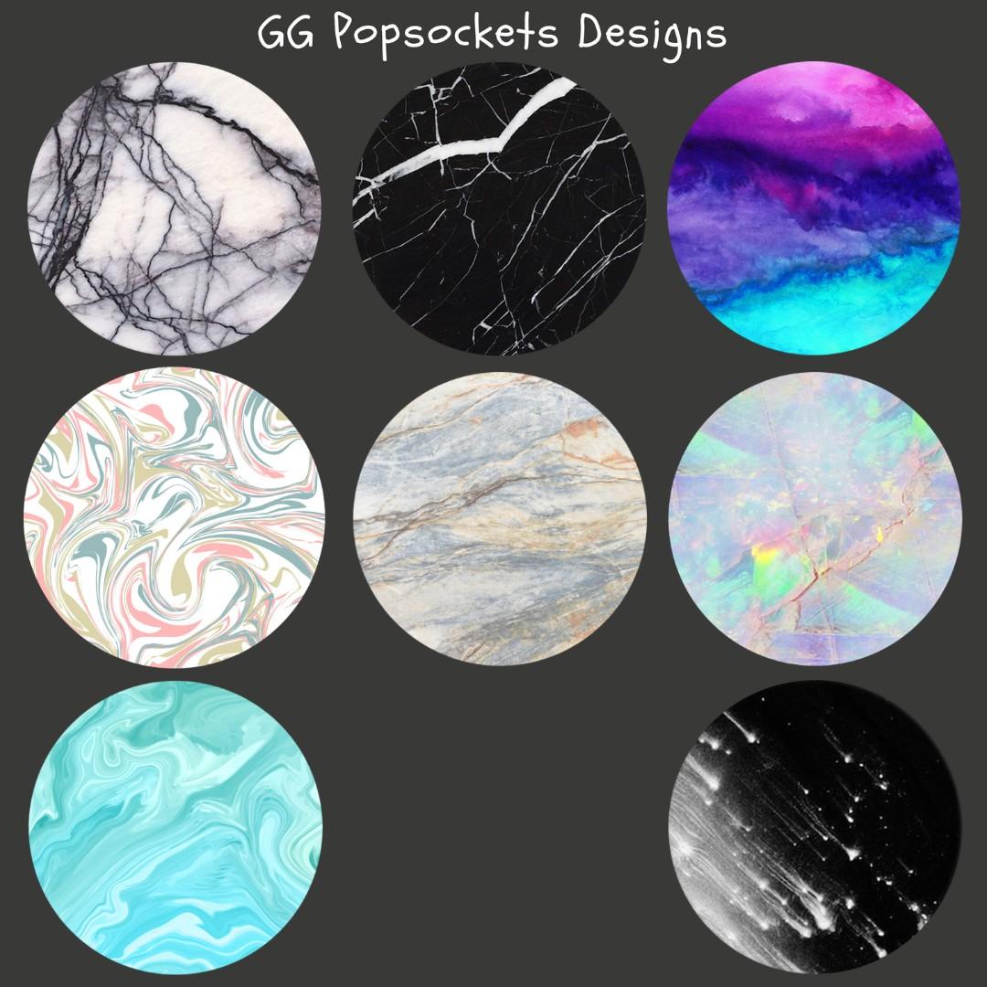 Popsocket Stickers Black White Marble Design Pop Socket