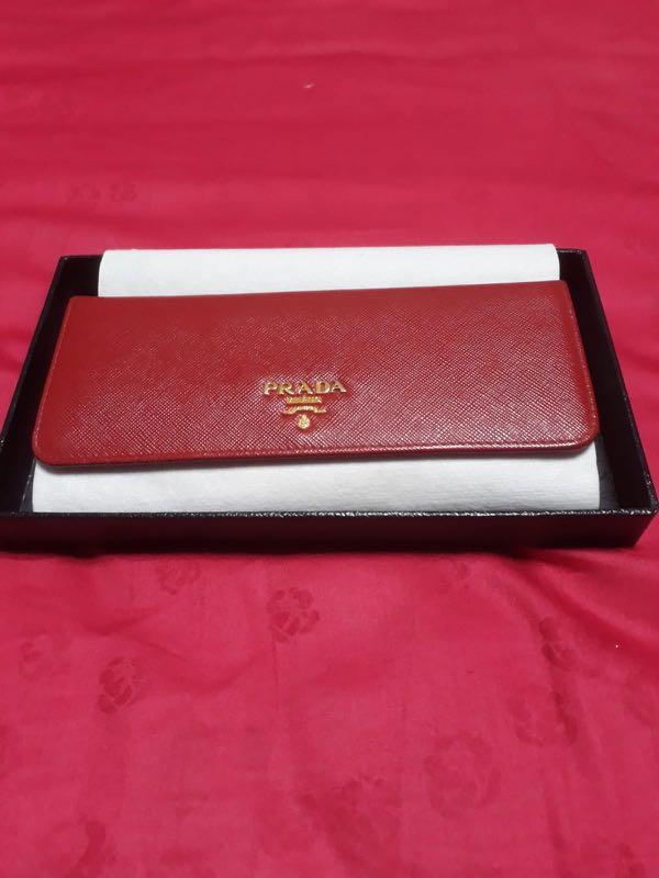 45453e9b6b66 Prada Saffiano Metal Long Flap Wallet (Fuoco)