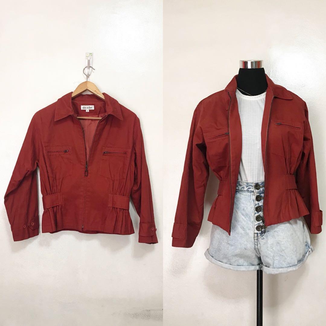 b882c49188 Preloved  Oversized Orange-Red Jacket Coat