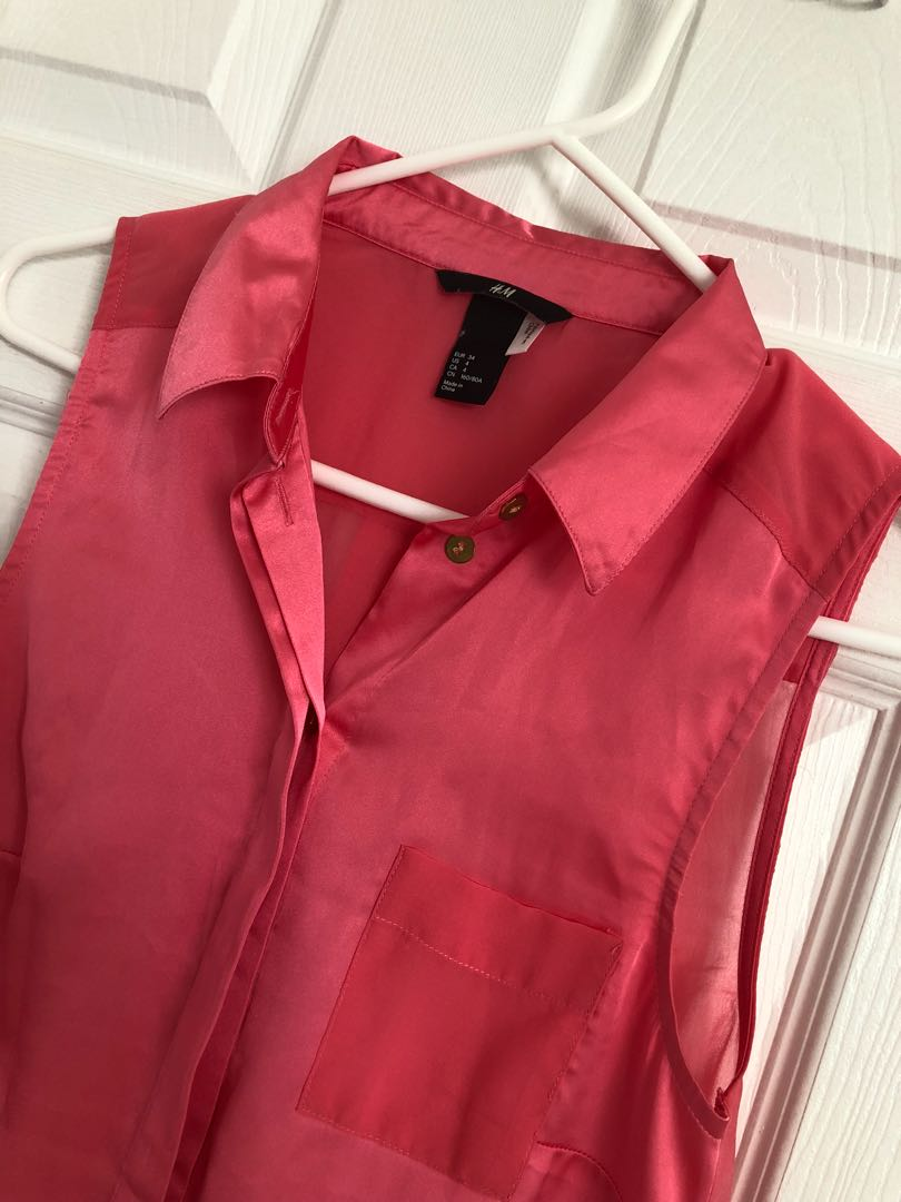 Silky Coral Pink Sleeveless Blouse
