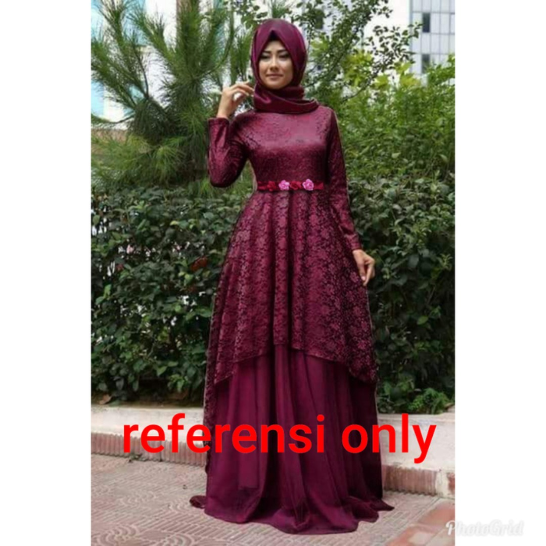 Turki Maron Gamis Maxi Dress Pesta Brukat Tulle Tile Velvet Murmer Womens Fashion Muslim On Carousell