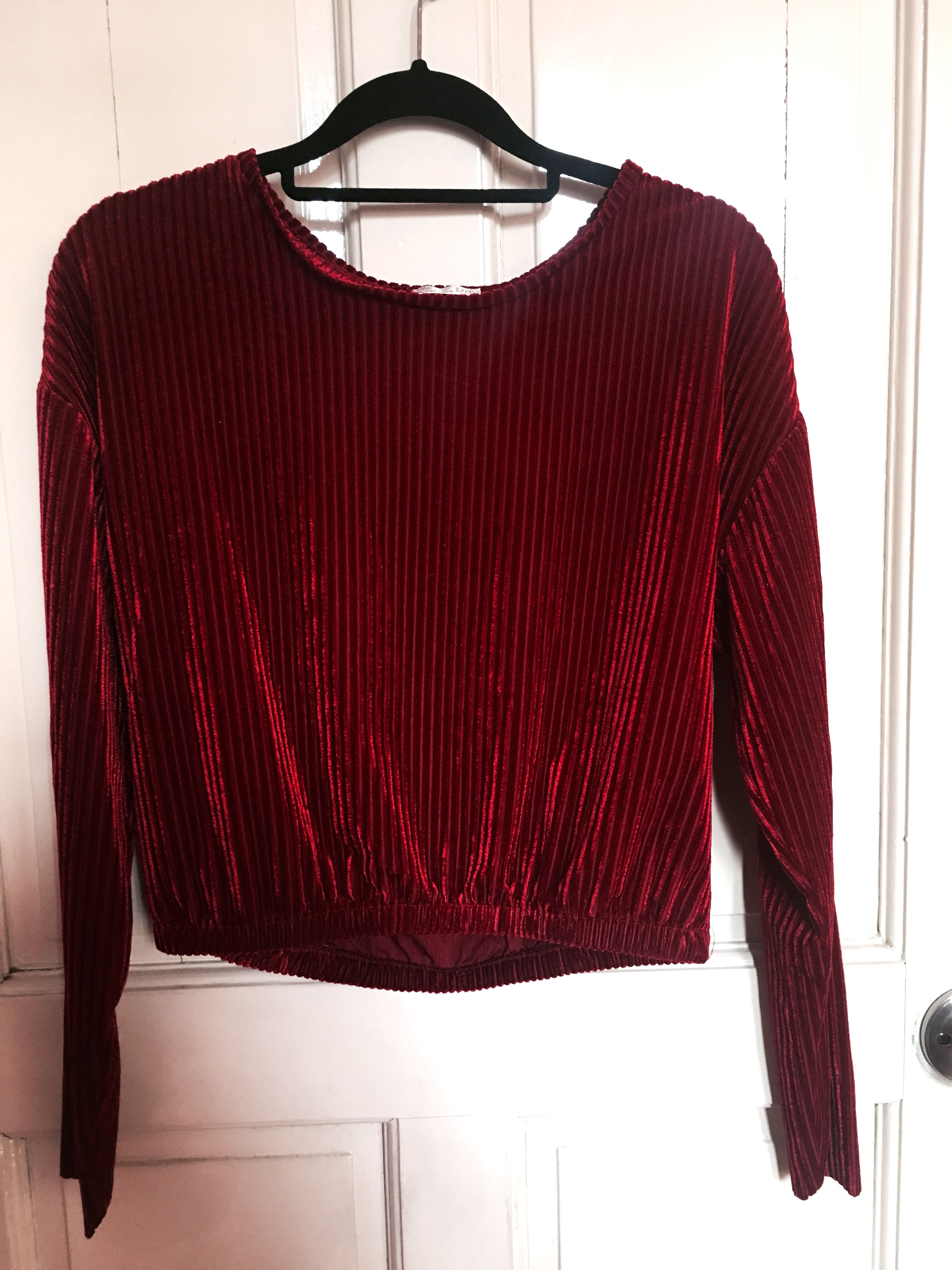 07b9fe41f85 Zara Burgundy Velvet Long Sleeve Crop Top on Carousell