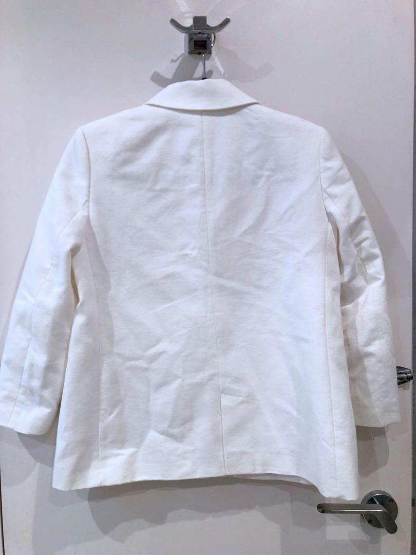 Zara Collar Jacket with Diamanté, WHITE, XS