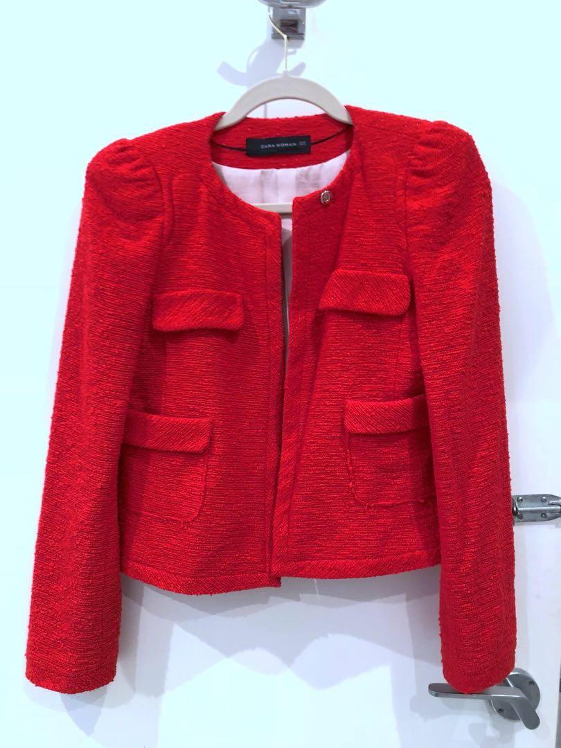 Zara Tweed Jacket, RED, S