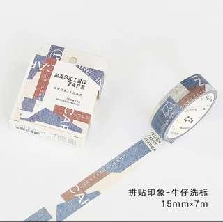 信的戀人 拼貼印象系列 牛仔洗標 MT紙膠帶分裝 每半米1蚊