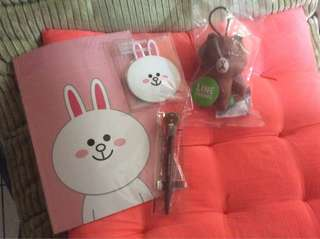 Line official merchandise (small mirror, pen, note book, brown doll)