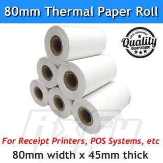 80mm Thermal Receipt Paper Roll POS 45mm thick for printer