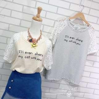 🚚 現貨➕預購❤️緹花袖繽紛條紋字母上衣