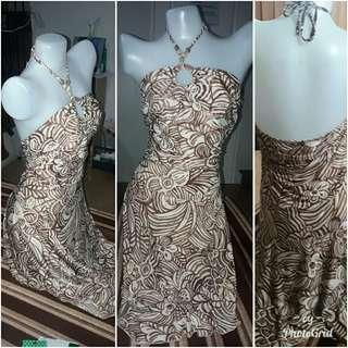Printed dress / brown cocktail dress backless