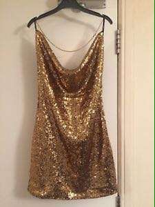 Forever21 Gold Halter Sequined Dress