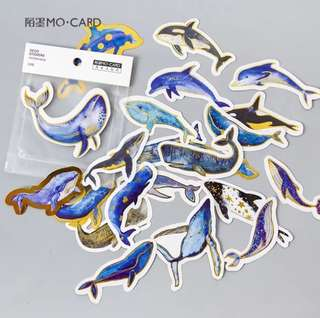 [Stickers] #31 Blue Whale Stickers for diary and scrapbooking