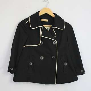 Korean Fashion Style Black Beige Trimmed Double Breasted Peacoat Jacket