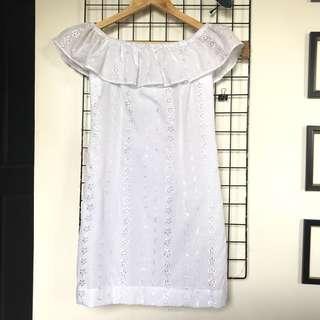 White Off The Shoulder Elegant Simple Dress