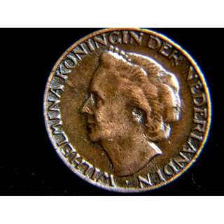 1948年荷蘭王國荷女皇威廉米娜像1仙銅幣(最後一年)