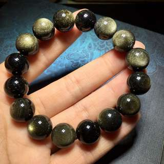 12mm Natural SHIMMERING Gold Obsidian FENG SHUI Crystal Gemstone Round Bracelet with Healing properties . Sexy Bracelet Unisex.