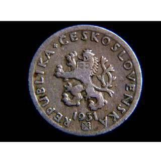 1931年捷克共和國立獅國徽鐮刀麥穗20克魯鎳幣
