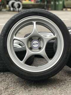 Original enkei rpo1 16 inch sports rim vios tyre 70%. *mora jual jual mora*