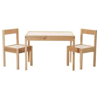 IKEA LÄTT Children's table with 2 chairs, white, pine