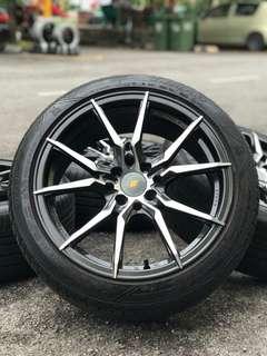 Vossen inforged 17 inch sports rim almera tyre 70%. *mora jual jual mora*