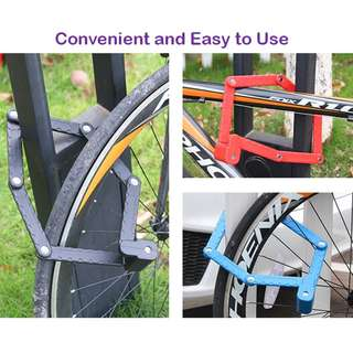 Folding Bike Lock - Anti Theft Heavy Duty Steel Metal Compact Foldable Bicycle Locks Accessories