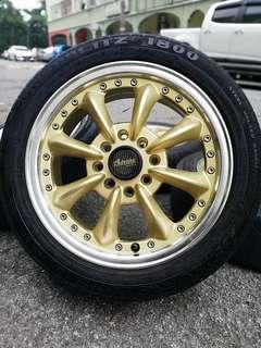Watanabe 14 inch sports rim viva tyre 60%. *nama saya wan, bagitahu kawan kawan .. rim ni sungguh rupawan!!*