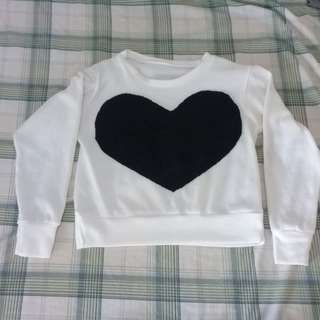 💙 Heart Black and White Long Sleeve