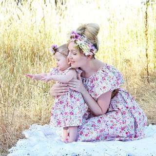 Floral Flower dress family matching mother daughter twinnie clothes family set