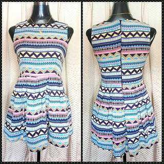 Skater Dress with Zigzag Lines
