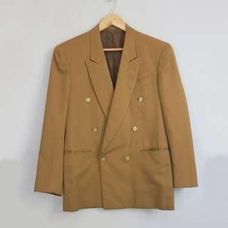 Vintage Dark Brown Gold Buttoned Long Blazer Jacket Coa