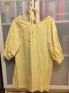 Korean Light Yellow Dress/Long Blouse
