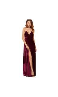 Velvet backless maxi prom formal dinner dress