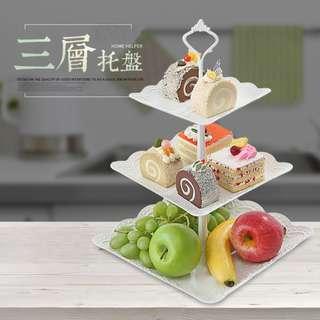歐式三層式蛋糕水果盤/PP塑料多層蛋糕架/乾果盤/下午茶點心托盤/甜品台/擺件