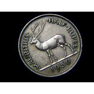 1950年英屬毛里求斯大角鹿1/2盧比(Rupee)鎳幣(英皇佐治六世像)