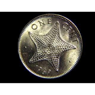 1969年英屬巴哈馬群島大海星1仙黃銅幣(英女皇伊莉莎伯二世像, 原光好品)