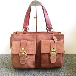 auth coach suede leather tote bag