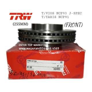 TRW DISC ROTOR TOYOTA VIOS 08 1.5 NCP93 J SPEC / YARIS 1.5