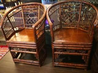 Pair of vintage bamboo Armchairs. New ones are not of same qualty, style or proportion.