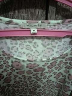 mint green and pink leopard top