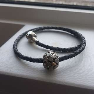 Pandora leather bracelet and charm