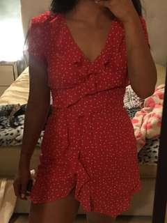 bardot red wrap dress