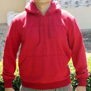 Jaket Merah Solid with Hoodie, Mulus! [Serbu! Serba 30 Ribu]