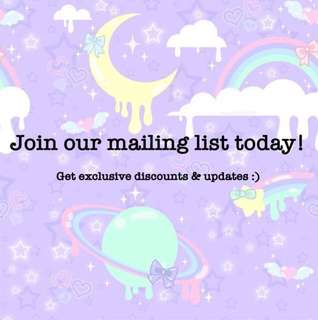 Join our mailing list ❤️