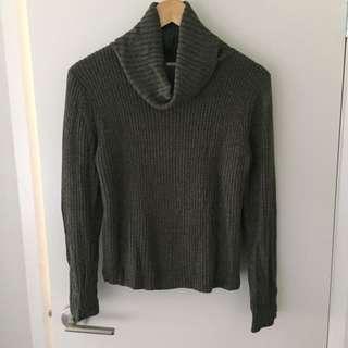 Khaki roll neck knit