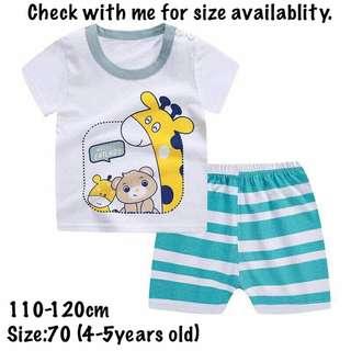 100% cotton kids t-shirt set
