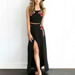 PO: Two Piece Rose Embroidered Set