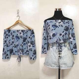 [Brandnew] Chiffon Blue Floral Off Shoulders