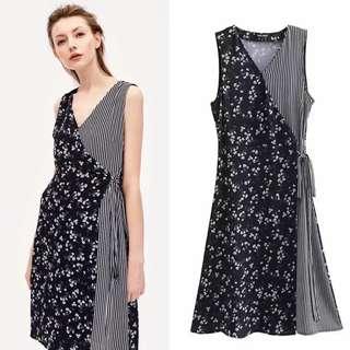 2018 Spring/Summer New Europe Station Color Matching Sleeveless Dress Women's Print Dress