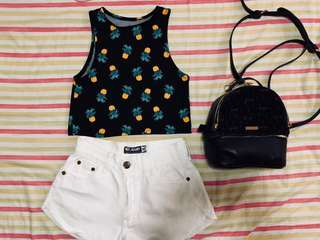 BRAND NEW HIGH QUALITYY PINEAPPLE TOP AND AUTHENTIC F21 SHORTS