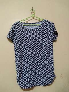 Floral Blouse (Blue and Black)