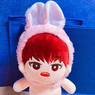 [20cm娃衣 exo bts wanna one公仔] 淨 粉紅兔耳頭套 不包其餘